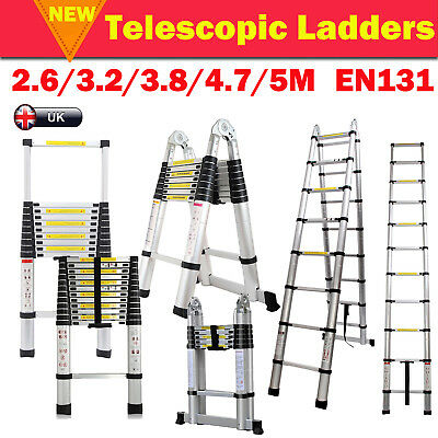 Heavy Duty 2.6-5M Multi-Purpose Aluminium Telescopic Ladders Extension EN131 UK