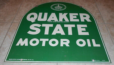 * VG+ VINTAGE 1960's QUAKER STATE DOUBLE SIDED METAL SIGN LOCAL SOCAL PICK UP *