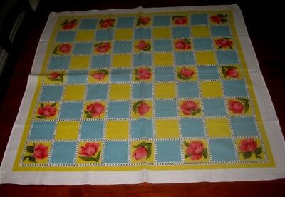 Vintage Supper Cloth ~ Bright Flowers/squares ~ Cotton ~ Square ~ New