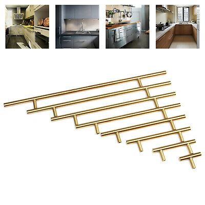 """Modern Gold Stainless Steel Home Kitchen Cabinet Handles T Bar Pull 2"""" to 16"""""""
