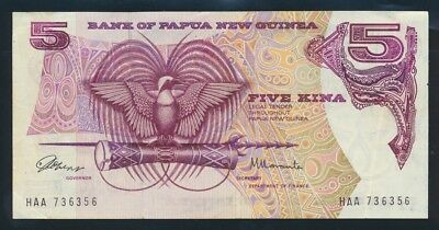"Papua New Guinea: 1975 1ST ISSUE 5 Kina SCARCE 1ST PREFIX ""HAA"". Pick 2a"