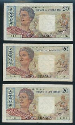 "New Caledonia: 1963 20 Francs (Lot 3) ""CLASSIC FRENCH COLONIAL DESIGN"". Pick 50c"