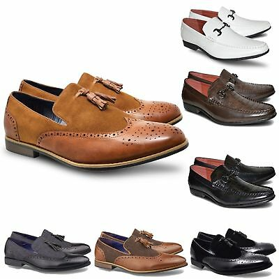 Mens Casual Smart Italian Brogues Slip On Tassel Loafers Office Dress Shoes Size