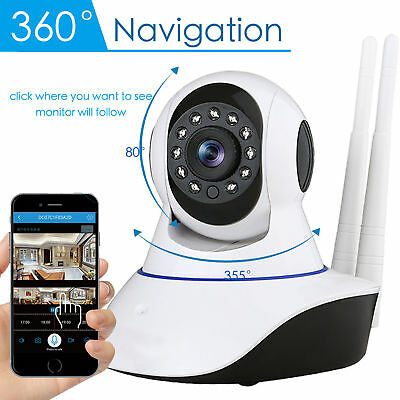 1080P HD Dual Antenna WiFi Wireless P2P IP CCTV PTZ Security Camera Night Vision