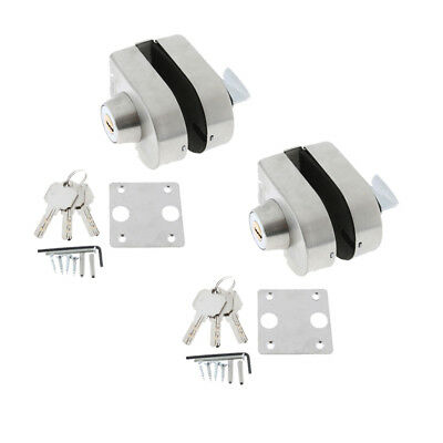 2x 10-12mm Glass Door Security Lock Stainless Steel Bolts Swing Push Sliding