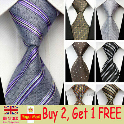 Mens Wedding Silk Tie Skinny Business Necktie Woven Blue Brown Slim Ties for Men
