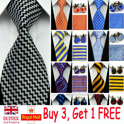 Mens Grooms Silk Tie Sets Wedding Necktie Cufflinks Hanky Handkerchief Ties Men