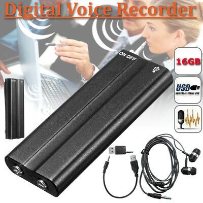 Rechargeable 16GB Clip Voice/Sound Activated Digital Audio Recorder MP3 Player