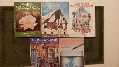 Lot Of 5 Watercolor Instruction Books By Hill ,leclair,blockley,shook And Witt