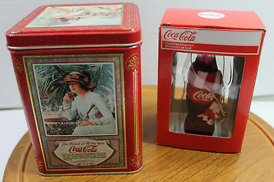 Kurt Adler Coca Cola Christmas Ornament Bottle & Coca Cola Crackle Tin