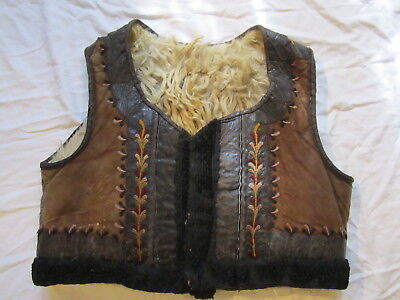 Antique Traditional Transylvanian Embroidered Leather Vest Waistcoat
