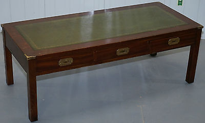 Rrp £1825 Military Campaign Coffee Table With Green Leather Surface & Drawers