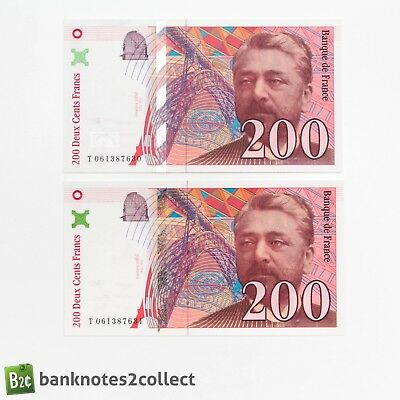 FRANCE: 2 x 200 French Franc Banknotes with consecutive serial numbers.