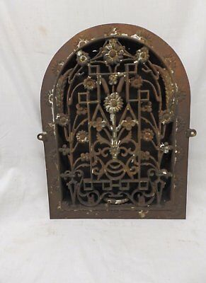 Antique Cast Iron Heat Arch Top Dome Ornate Grate Vent Register Vtg 12x9 370-17P