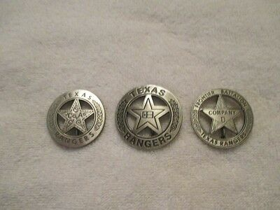 The Texas Rangers 3 Badge Collecton
