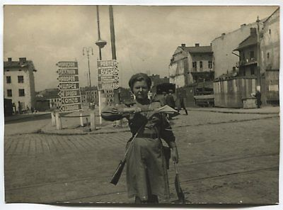 Wwii Large Size Press Photo: Russian Army Traffic Controller, Western Ukraine