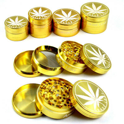 METAL GOLD GRASSLEAF 40&50mm HERB GRINDER MAGNETIC 3&4 PART POLLINATOR NEW
