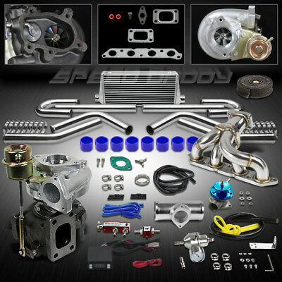 T25 10Pc Turbo Kit+Manifold+Intercooler For 89-93 Celica 88-97 Corolla 4A-Fe