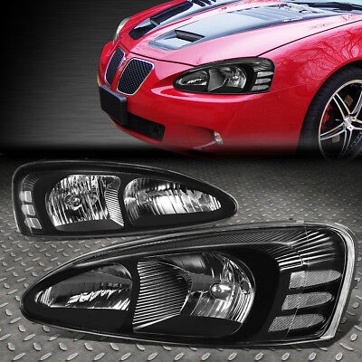 For 04-08 Grand Prix Gt Pair Black Housing Clear Side Headlight Front Lamp Set