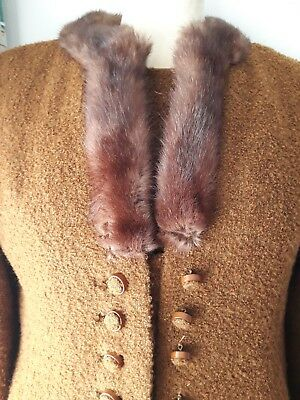 Original Vintage 1960s mad men matching coat (with fur collar) & dress 12