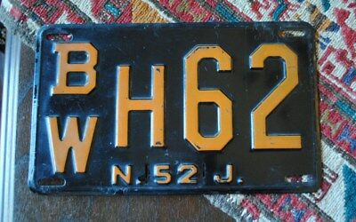 Vintage New Jersey License Plate 1952