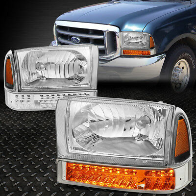 For 1999-2004 Ford F250 F350 Chrome Housing Amber Side Headlight Led Drl+Signal