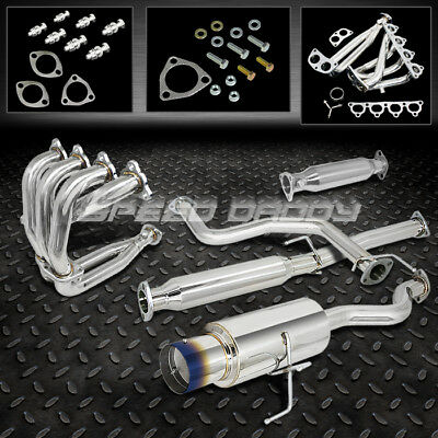"4.5""burnt Tip Muffler Catback/cat Back+Header+Pipe Exhaust 92-95 Honda Civic 3Dr"