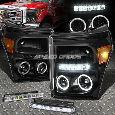 Black Dual Halo Projector+Led Drl Headlight+Corner+Fog Light For 11-16 Superduty