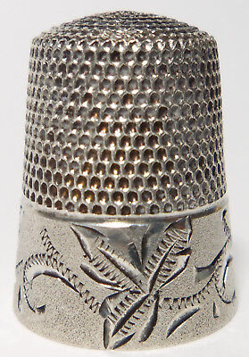 Antique Sterling Silver Thimble ENGRAVED FLORAL ETCHED BACKGROUND Simons Bros