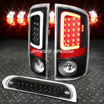 Black Housing Clear Led Bar Brake Tail Light+3Rd Cargo Lamp For 07-09 Dodge Ram