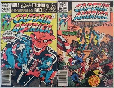 "1981. TWO x ""CAPTAIN AMERICA"" Marvel comics #'s 263 & 264. VG+"