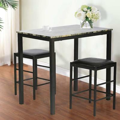 """Kitchen Dining Table with 2 Black Stools Marble Effect 32"""" High Table Metal Legs"""