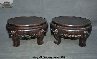 Old Chinese Huanghuali Wood Hand-carved Bonsai Potted plant flower pot Base Pair