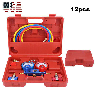 R134a Car A/C Refrigeration Kit Manifold Gauge 5ft Charging Hoses Quick Couplers
