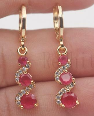 18K Gold Filled -  1.2'' Swirl Round Ruby Topaz Gems Cocktail Dangle Earrings