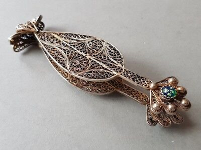 GORGEOUS ANTIQUE Ottoman SILVER filigree Clip Holder with GOLD PLATED HOLLMARKS
