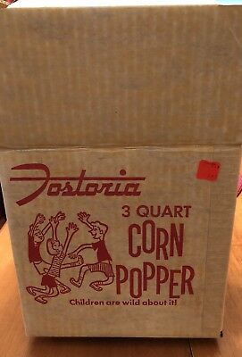 Vtg Fostoria 3 Qt Popcorn Corn Popper Aluminum Base Glass Lid Box- #35103-1 New