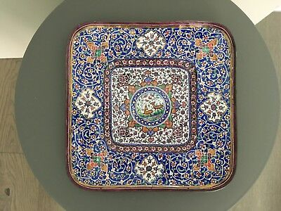 Collectible Vintage Enamel Persian plate Hand Painted signed 'Made in Iran'