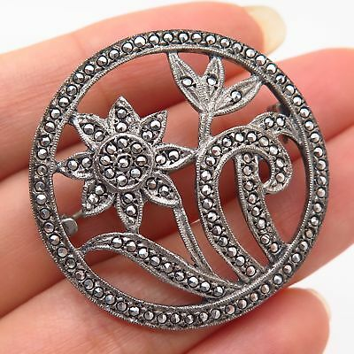 925 Sterling Silver Vintage Real Marcasite Gemstone Floral Pin Brooch Diamonds & Gemstones
