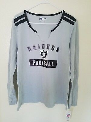 29a90b18a New NFL Oakland Raiders Majestic Women's Lead Play Long Sleeve V-Notch T- Shirt