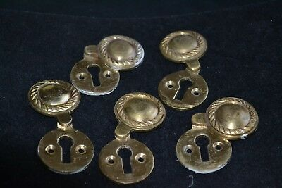 Job-Lot of 5 Vintage Brass Key Lock Key Hole Escutcheons with Covers - Uncleaned