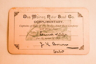 1891 Des Moines River Boat Company Ticket Pass