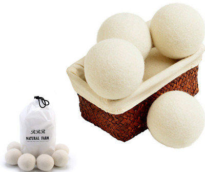 Clothes Dryer Balls For Laundry 6 Natural Fabric Wool Softener Anti Static Wash
