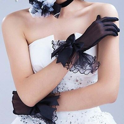 Women Lace Satin Bow Bridal Wedding Soft Tulle Finger Organza Short Gloves LD