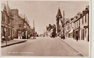 RP 1954 AUCHTERARDER - shops, clock tower, people