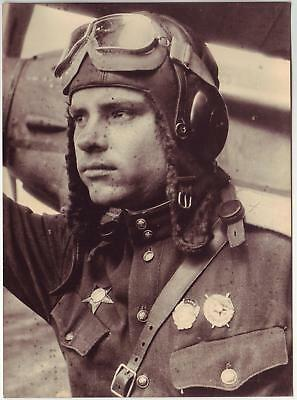 Russian Wwii Press Large Size Photo: Air Forces Pilot With An Aircraft