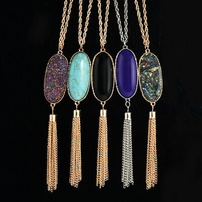 Women's Fashion Big Oval Abalone Druzy Stone Tassel Pendent Necklace Long LD