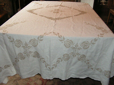 Vintage Cross Stitched Linen Tablecloth & 12 Napkins Butterfly Lace Ecru Linen