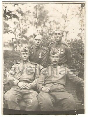 1940s WW2 military men SOVIET ARMY SOLDIERS WWII Order medals USSR Russian Photo
