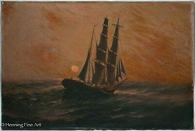 Very Early Antique Oil Painting of Ship at Sea During Sunset, Possibly 18th cent